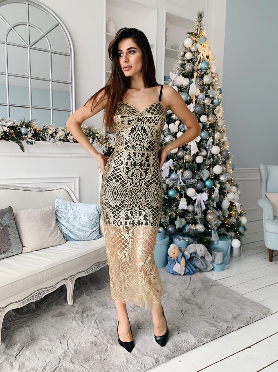 Гипюровое платье с блестками на подкладе и на бретельках tez7303506