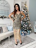 Гипюровое платье с блестками на подкладе и на бретельках tez7303506, фото 1