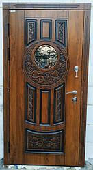 Двері вхідні зі склом і ковкою Коло серії Еталон ТМ Каскад