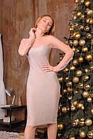 Красивое платье из люрекса в камнях с рукавами из сетки и длиной до колен tez6303515, фото 1
