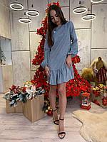 Красивое платье свободное из люрекса с оборками и длинным рукавом tez6303520, фото 1