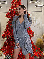 Красивое платье из пайетки на подкладе с рукавом фонариком и асимметрией tez6303521