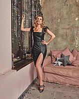 Кожаный черный сарафан с разрезом на ноге tez6003526, фото 1