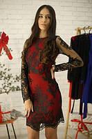 Кружевное платье - фуляр на подкладе с длинным рукавом tez5203538, фото 1
