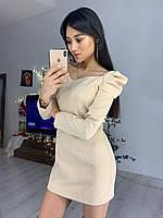 Приталенное платье с фигурным вырезом и длинным рукавом фонариком tez7603552, фото 1