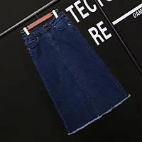 Джинсовая темно-синяя юбка с карманами