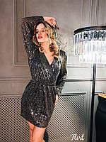 Красивое платье из мерцающей сетки в пайетку с верхом на запах и длинным рукавом tez3603552, фото 1