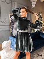 Бархатное плате с расклешенной юбкой и длинным рукавом - фонариком tez3603555, фото 1