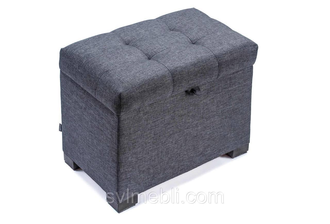 Пуф Турин с ящиком, рогожка темно-серая , ножки венге