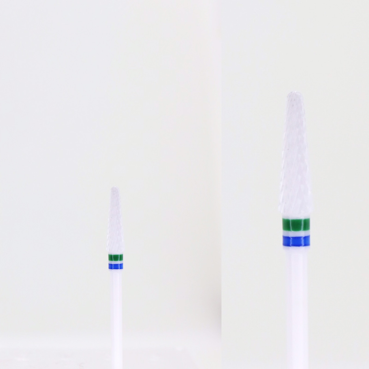 Фреза керамическая закругленный конус синяя и зеленая насечка