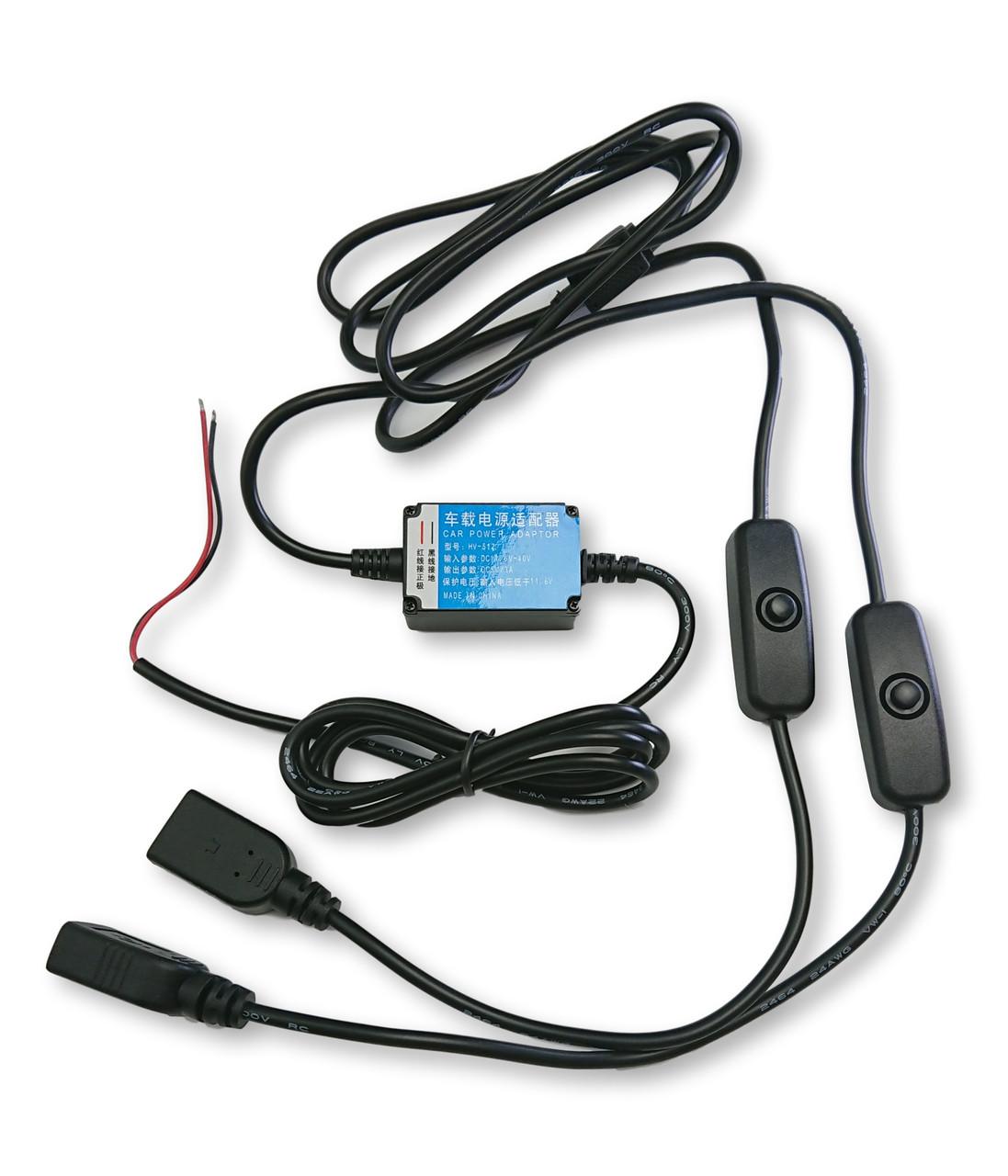Блок питания от бортовой сети для видеорегистраторов с двумя USB выходами BeAuto Черный (3050502)