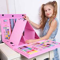 Набор художника для рисования с мольбертом 176 предметов в кейсе Розовый