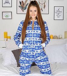 Женская пижама с карманом на попе голубая с белым новогодняя. Идеальный подарок