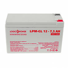 Акумуляторна батарея LogicPower 12В 7.5 AH (LPM-GL 12 - 7.5 AH) GEL