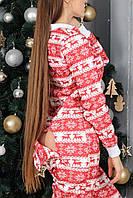 Женская пижама теплая с карманом на попе красная с белым новогодняя. Идеальный подарок
