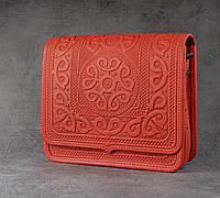 Кожаная женская сумка, красная сумка ручной работы, сумка через плечо, фото 1