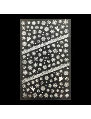 Наклейки Новорічні - сніжинки, сніговики. Колір - білий -F-284