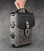"""Кожаная черно-серая сумка ручной работы с тисненым орнаментом """"Подкова"""", формат А5, фото 1"""