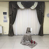 Ламбрекен в зал и готовые и жаккардовые шторы ALBO 150х270cm (2 шт) Капучино (LS326-5), фото 1