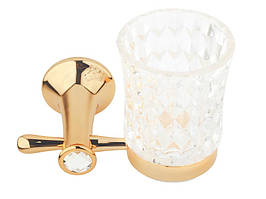 Стакан для зубных щеток KUGU Bavaria 306G (латунь, золото, стекло)(Бесплатная доставка  )