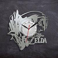 Zelda Виниловые часы Зельда Видео игра Часы для подростков Декор в комнату Часы в цвете золота 30 см
