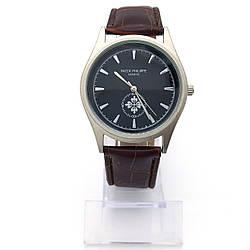 Часы на коричневом ремешке под кожу, р.17,5-21,5см, циферблат 38мм