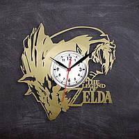 Зельда Zelda Виниловые часы Видео игра Часы для подростков Декор в комнату Часы в цвете золота 30 см