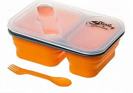 Контейнер харчової складаний + ложка-вилка Tramp TRC-090 (0,9 л, два відсіки), помаранчевий