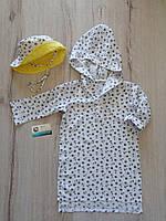 Детская пляжная туника  с якорями штапель для мальчика накидка на пляж панамка пляжная рубашка