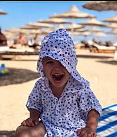 Детская пляжная туника с якорями длинная штапель