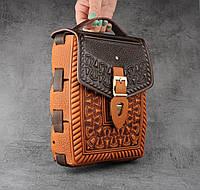 """Кожаная коричнево-рыжая сумка ручной работы с тисненым орнаментом """"Подкова"""", формат А5, фото 1"""