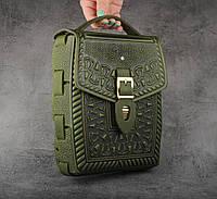 """Кожаная оливковая сумка ручной работы с тисненым орнаментом """"Подкова"""", формат А5, фото 1"""