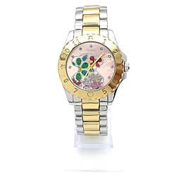 Часы с Цветосками на браслете под серебро, циферблат 42мм, ремешок д-6 см