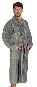 Мужской махровый велюровый халат Gursan Серый 100% хлопок (Турция)