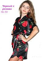 Шелковый халат черный с розами 46-50