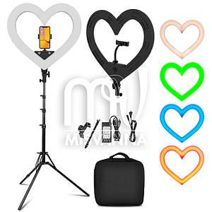 Кольцевая светодиодная лампа для макияжа OLY-5 на 54 Вт в форме сердца с 8-ю режимами света