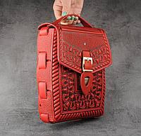 """Кожаная красная сумка ручной работы с тисненым орнаментом """"Подкова"""", формат А5, фото 1"""