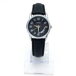 Часы EYKI под серебро, на черном ремешке, р.16,5-20,5, циферблат 28мм