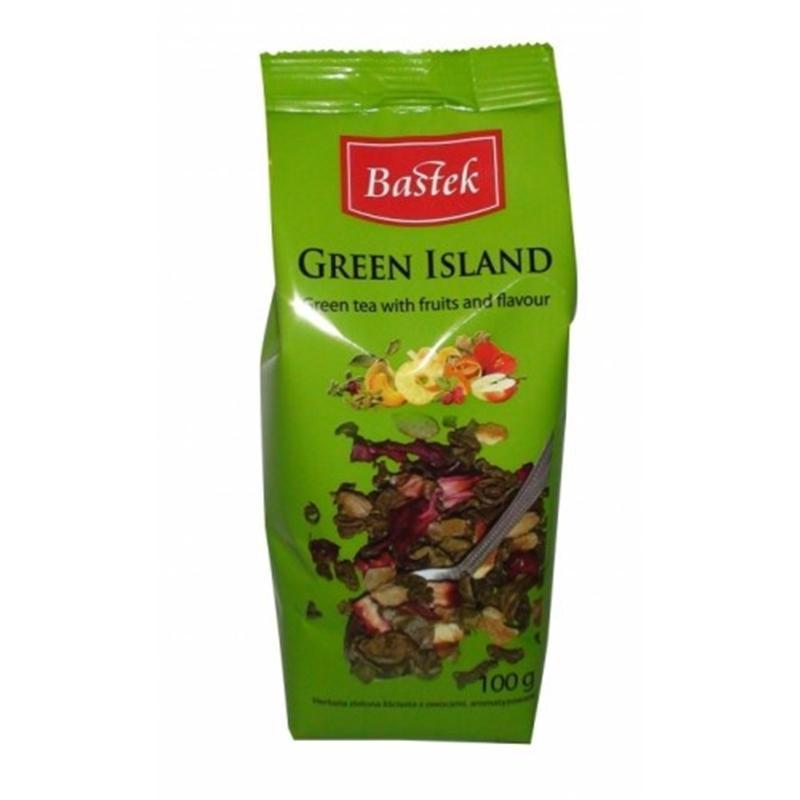 Чай зеленый Bastek Green Island с фруктами и цветами, 100 г (Польша)