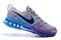 Мужские  кроссовки Nike Flyknit Air Max blue-grey