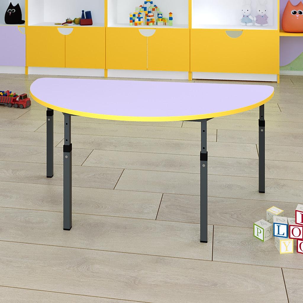 Стол детский полукруглый регулируемый по высоте 20×20 в 25×25