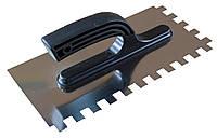 Терка шпатель плиточный 130х270 мм с зубьями 10х10мм из нержавейки с пласт. ручкой