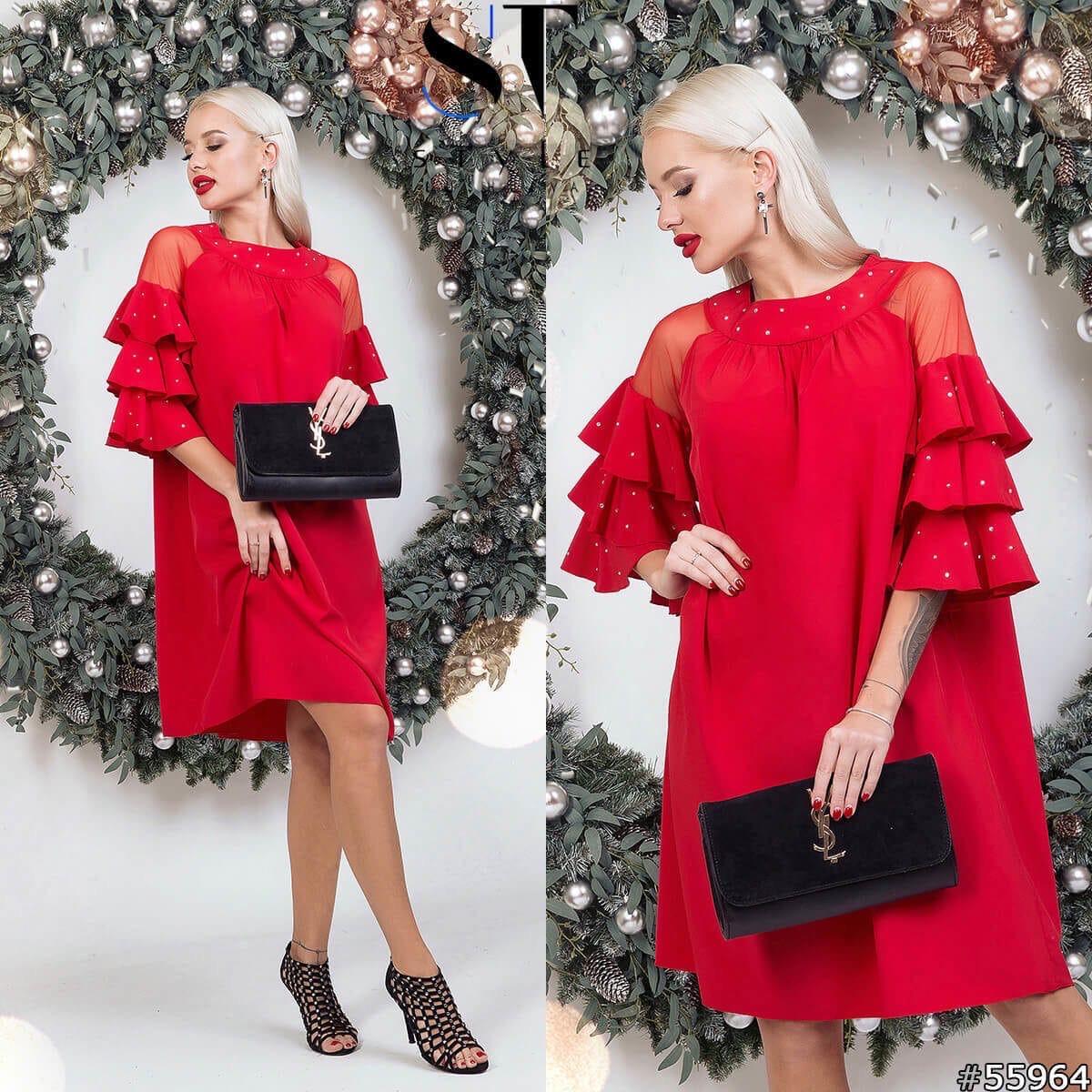 Платье рюши в расцветках 48351