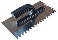 Терка шпатель плиточный 130х270мм с зубьями 4х4 мм из нержавейки с пласт. ручкой