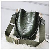 Женская зеленая сумка тиснение