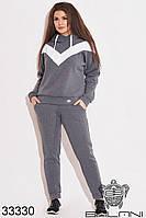 Спортивный женский костюм графитовый с начёсом (размеры от 48 до 62)