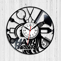 Часы Парикмахер Настенные часы для салонов Виниловые часы Парикмахерские аксессуары Тихий кварцевый механизм