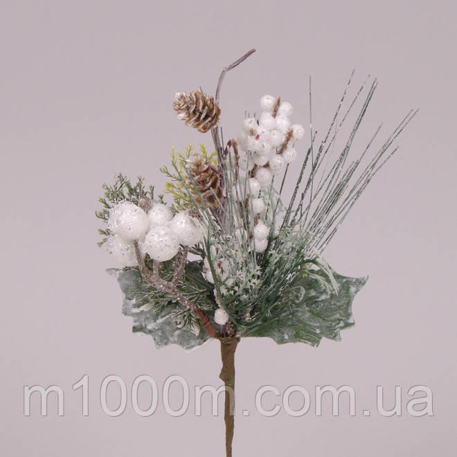 Ветка новогодняя для декора и флористики заснеженная с шишками