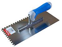 Терка шпатель плиточный 130х270мм с зубьями 10х10 мм из нерж. с резиновой ручкой