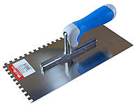 Терка шпатель плиточный 130х270мм с зубьями 8х8 мм из нерж. с резиновой ручкой